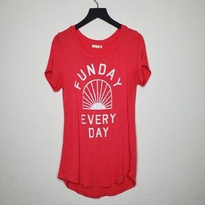 Sundry Funday Every Day Hot Pink Tee